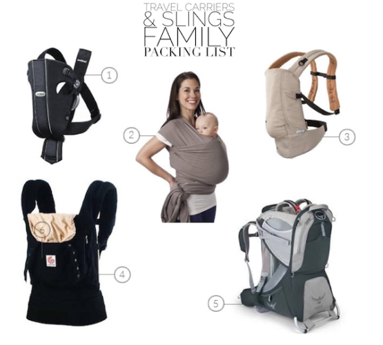 Tablet Family Packing List Slings Carriers